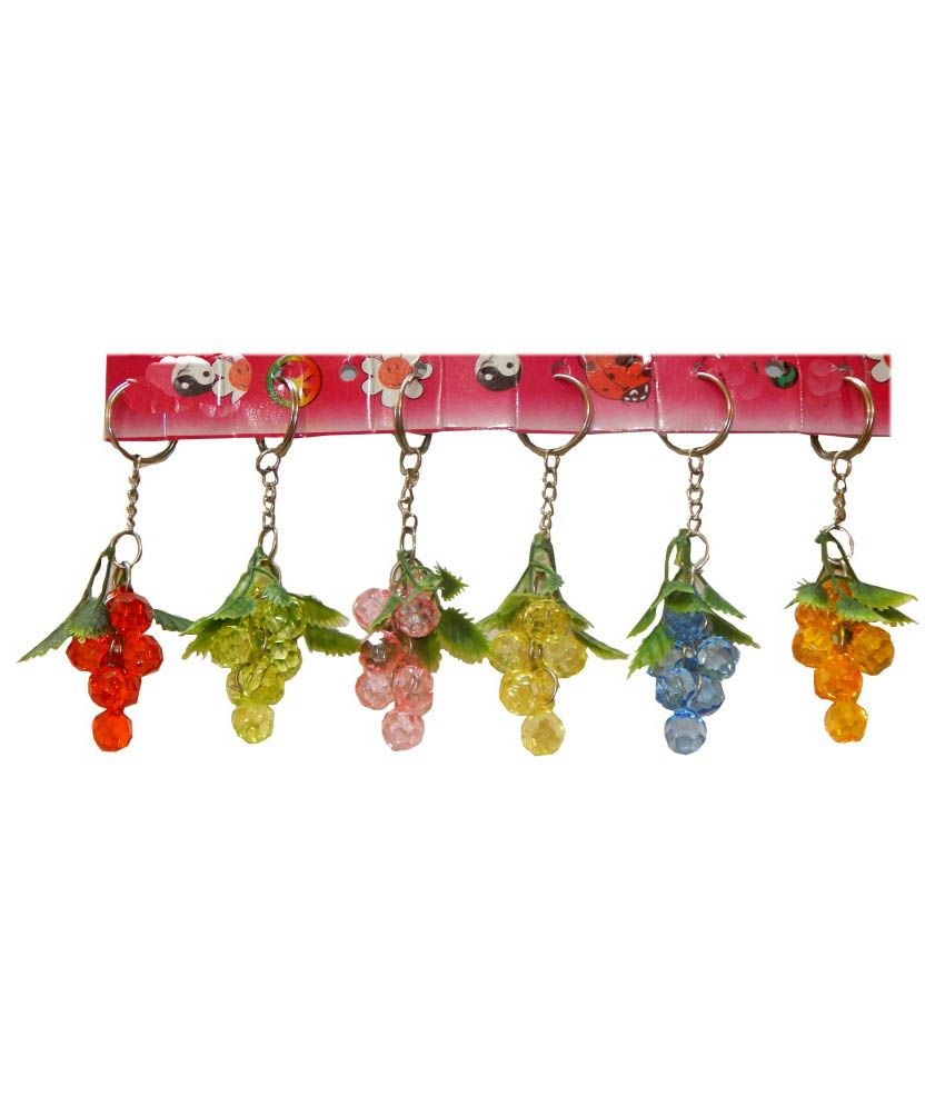 Amber Multicolour Latest Stylist Crystal Key Chains - Set Of 6