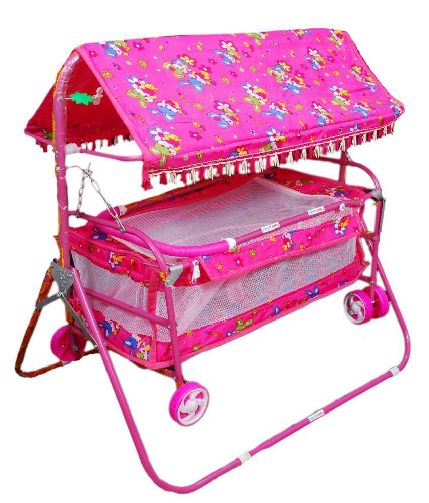 Baby bed online flipkart - Brats N Angels Pink Baby Cradle Cum Cot Cum Stroller