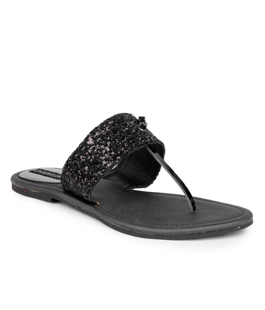Cinderellas Black Flat Slip Ons