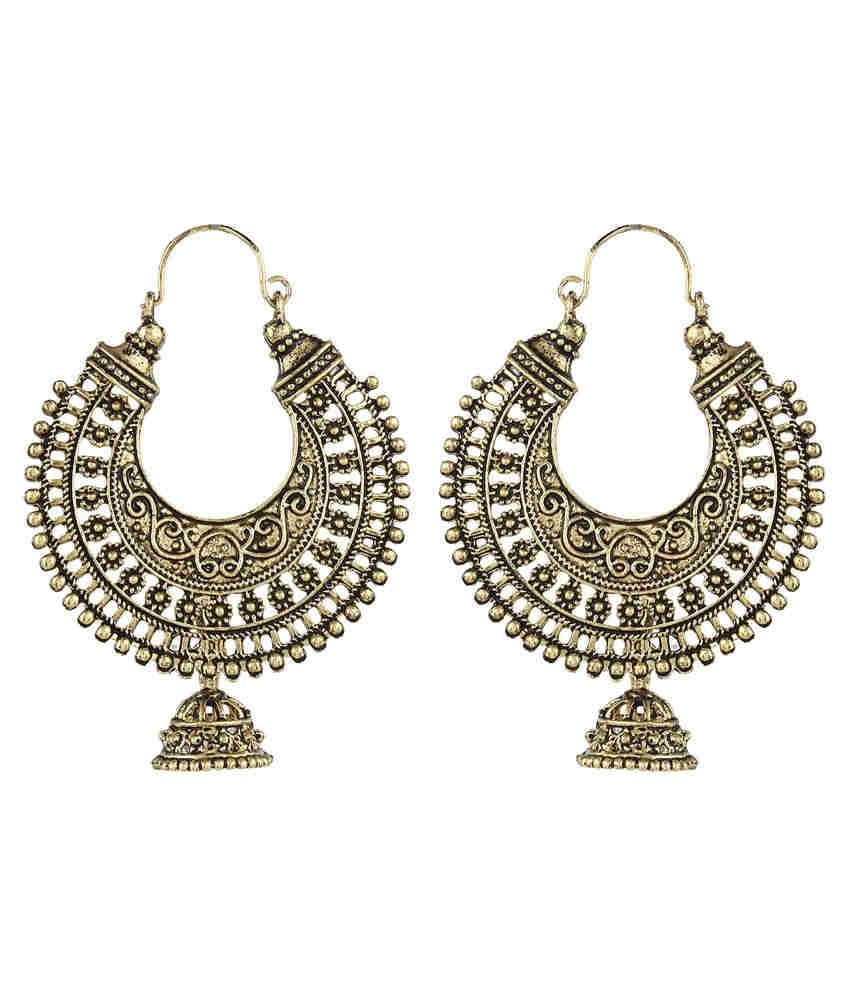 Crazytowear Ethnic Golden Metal Hoop Earring