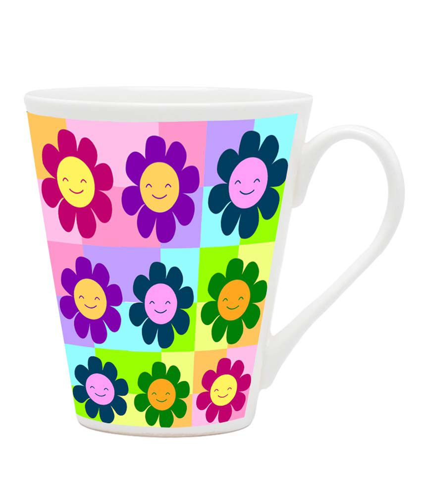Homesogood Smiling Floral Design Pattern White Ceramic Latte Coffee Mug - 355 Ml