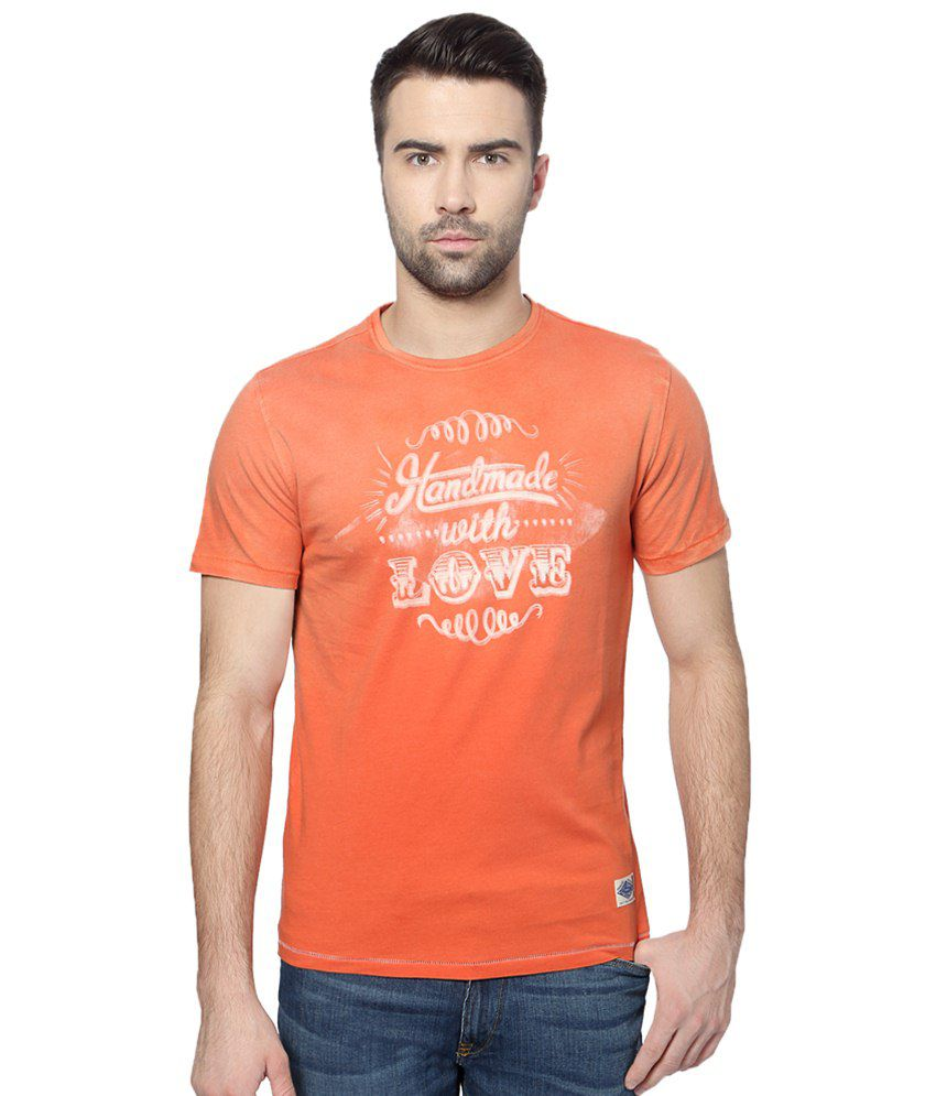 SF Jeans by Pantaloons Navy Blue Regular Fit T Shirt for Men