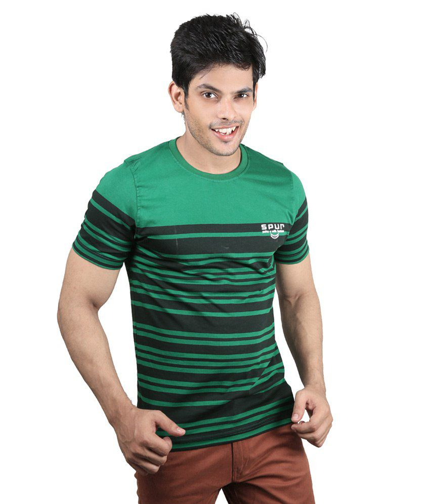 Spur Green & Black Cotton T-Shirt