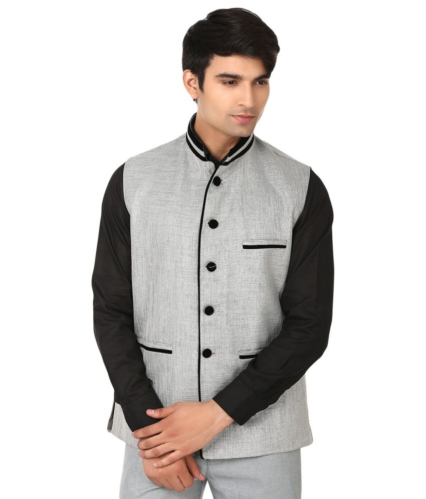 Wintage Gray Party Wear Nehru Jacket
