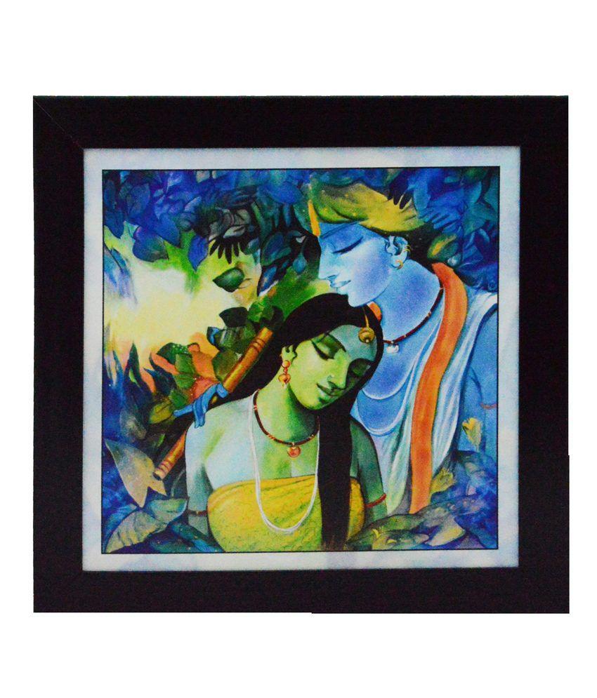 eCraftIndia Radha Krishna Love Scene Satin Matt Texture Framed UV Art Print