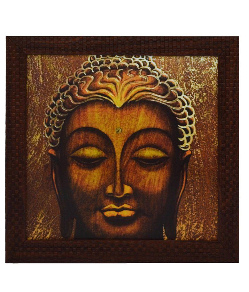eCraftIndia Spritual Buddha Head Satin Matt Texture Framed UV Art Print