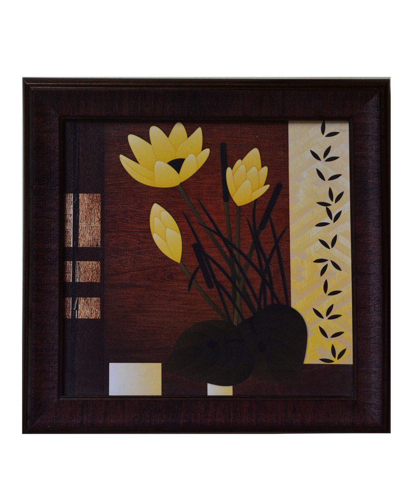 eCraftIndia Brown and Yellow Synthetic Wood Floral Painting