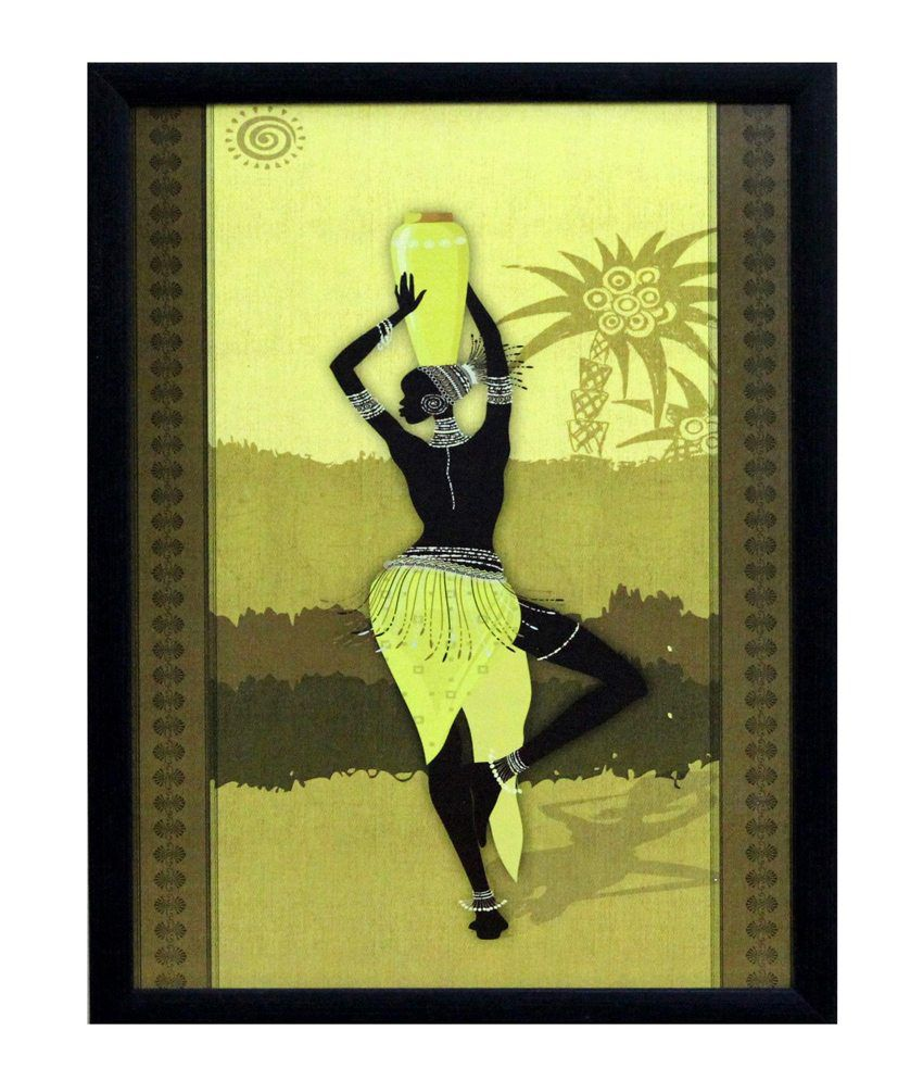 eCraftIndia Tribal Women Theme Satin Matt Texture Framed UV Art Print