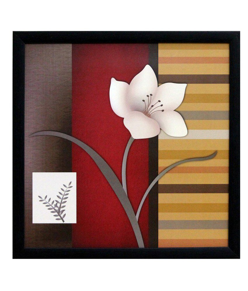 eCraftIndia Abstract Flower Theme Satin Matt Texture Framed UV Art Print