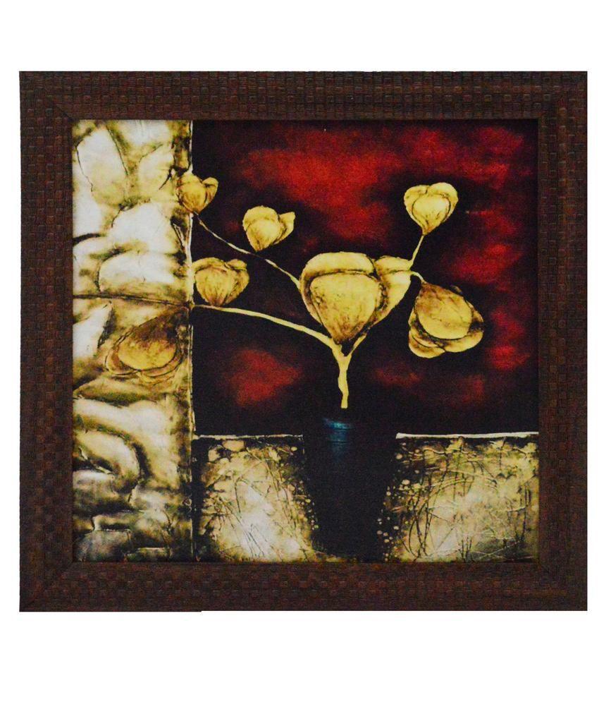 eCraftIndia Flower Pot Design Satin Matt Texture Framed UV Art Print