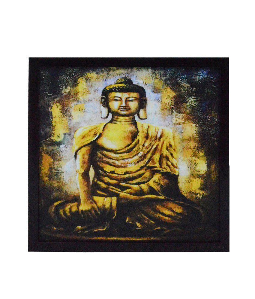 eCraftIndia Spritual Buddha Satin Matt Texture Framed UV Art Print