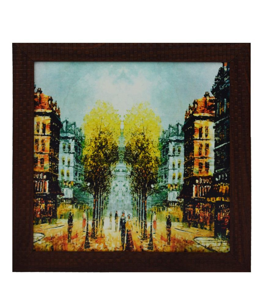 eCraftIndia City Scene Satin Matt Texture Framed UV Art Print