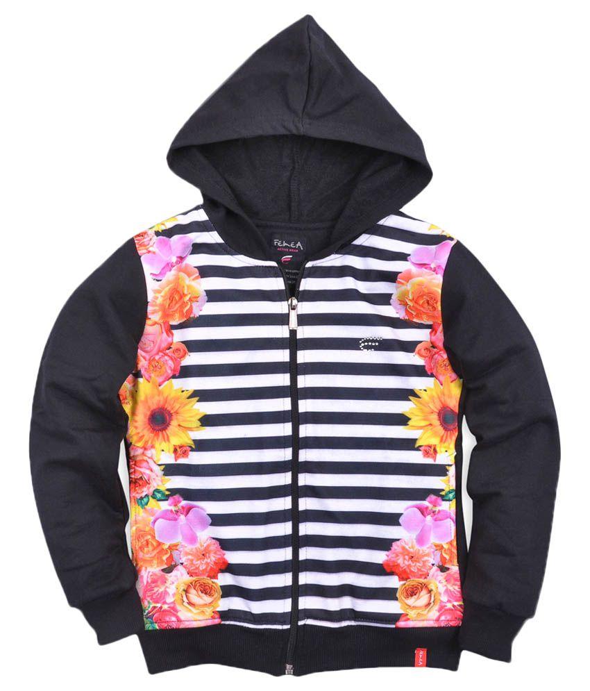 Femea Black Printed Full Sleeve Sweatshirt With Hood