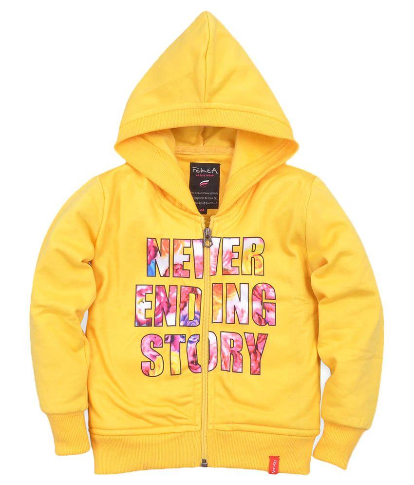 Femea Yellow Printed Full Sleeve Sweatshirt With Hood