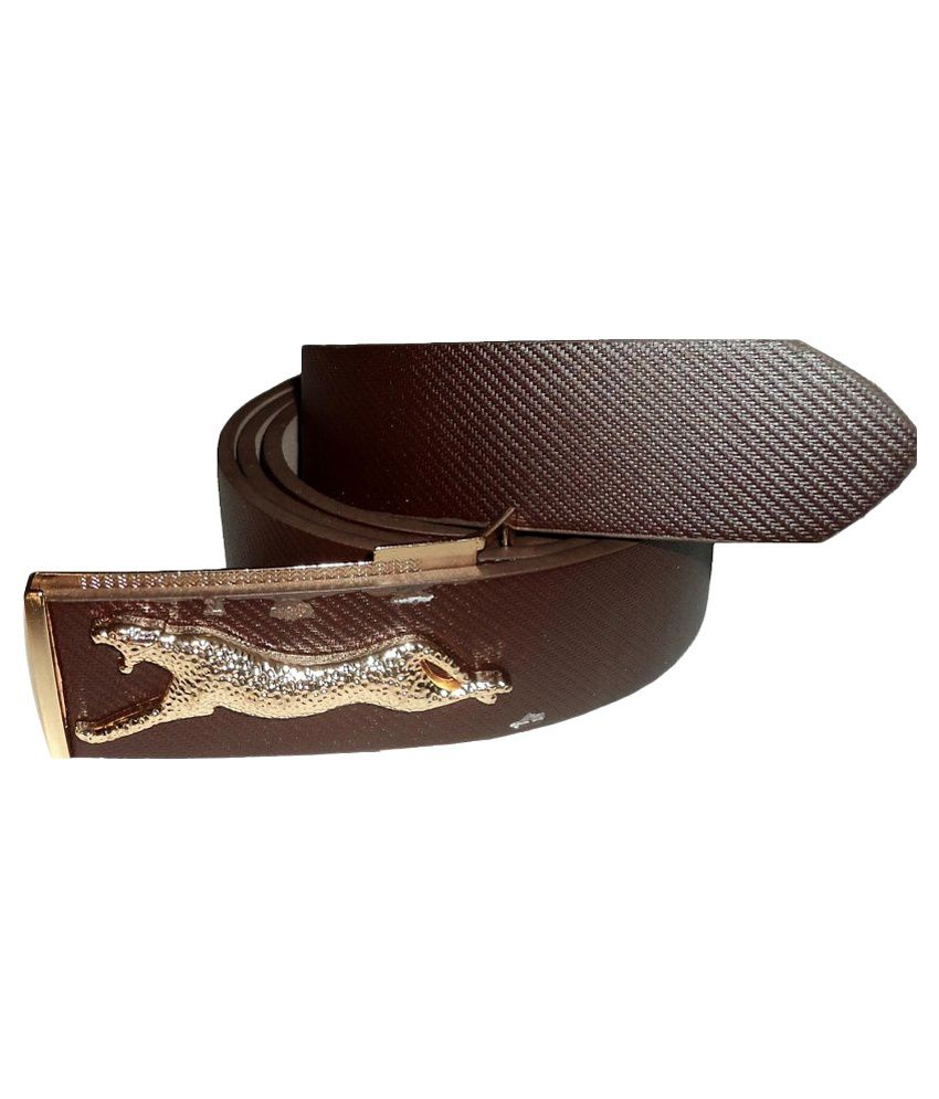 Mode Brown Leather Auto lock Buckle Casual Belt