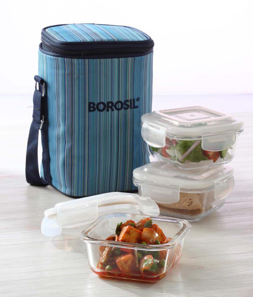 borosil klipnstore square glass lunch box 320 ml blue set of 3