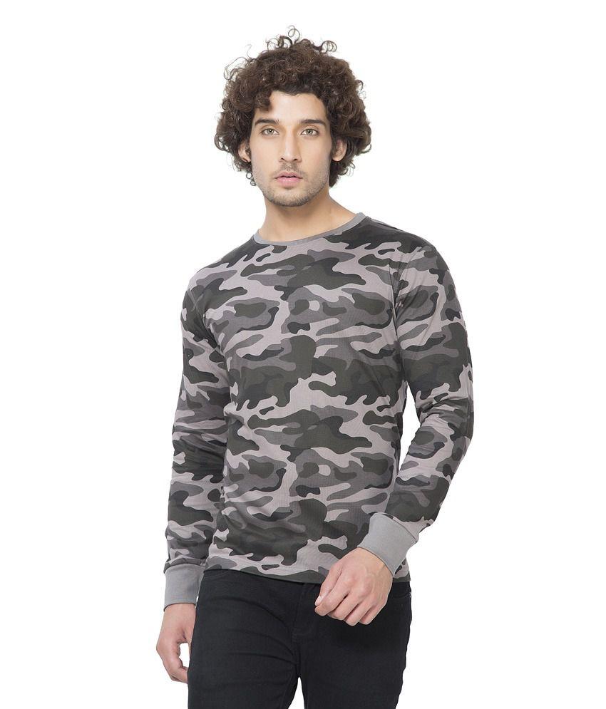 Clifton Mens Army R-Neck Full Slevee T-shirt-Steel Grey-XL