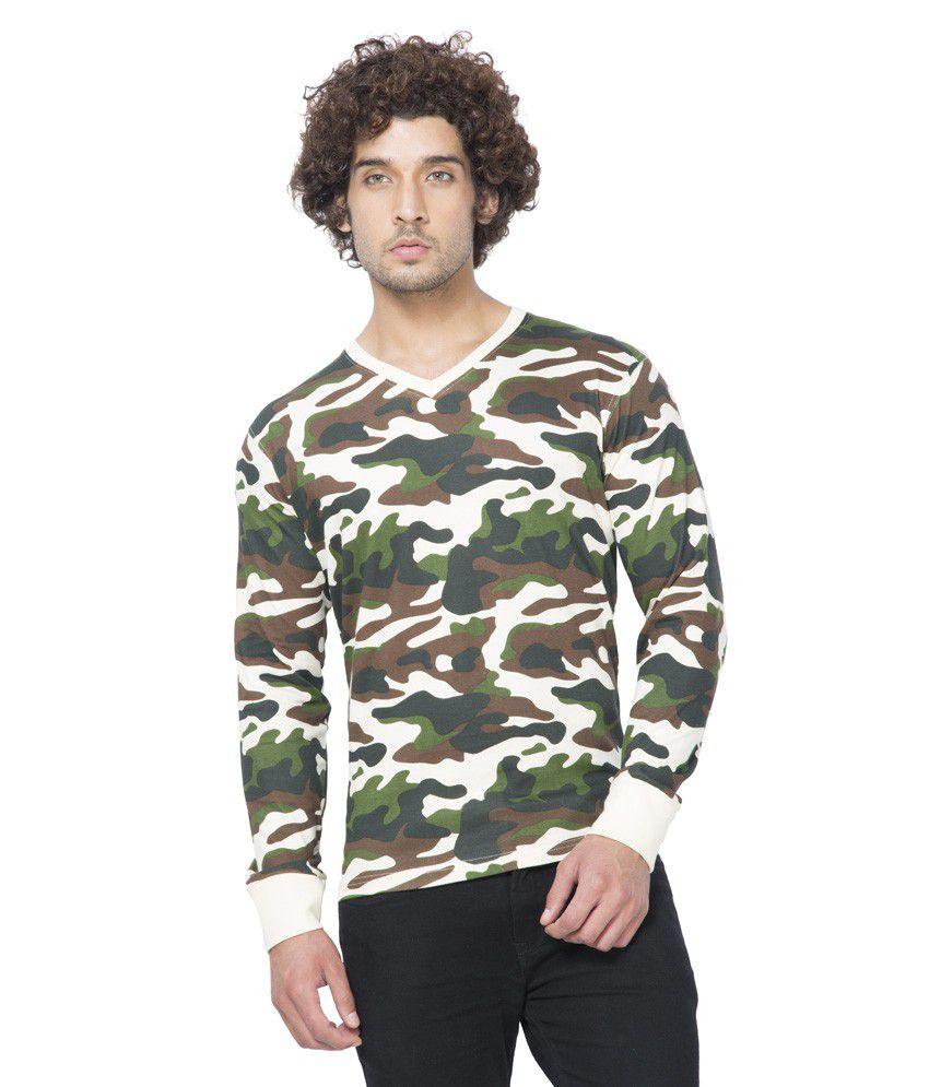 Clifton Mens Army V-Neck Full Slevee T-shirt-Offwhite-XL