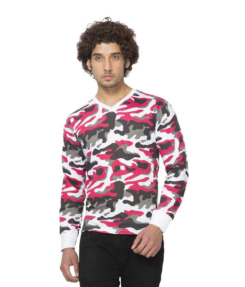Clifton Mens Army V-Neck Full Slevee T-shirt-White Red-XL
