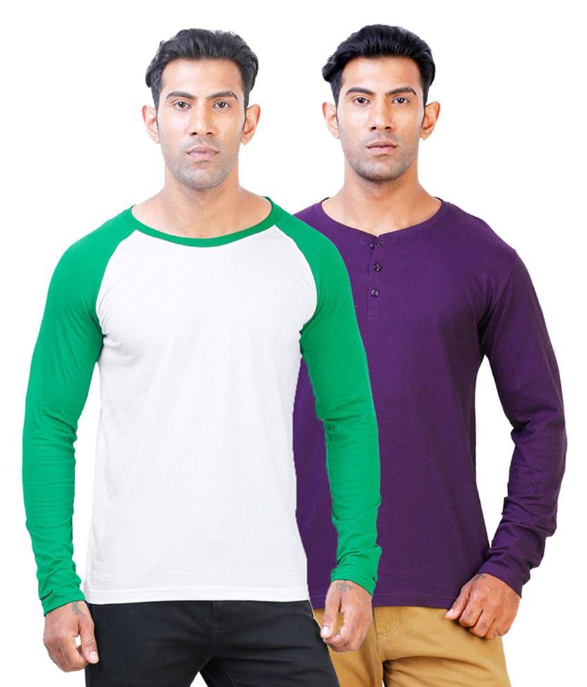 Street Junkies Purple Henley & White Round Neck Cotton T-Shirts (Pack of 2)