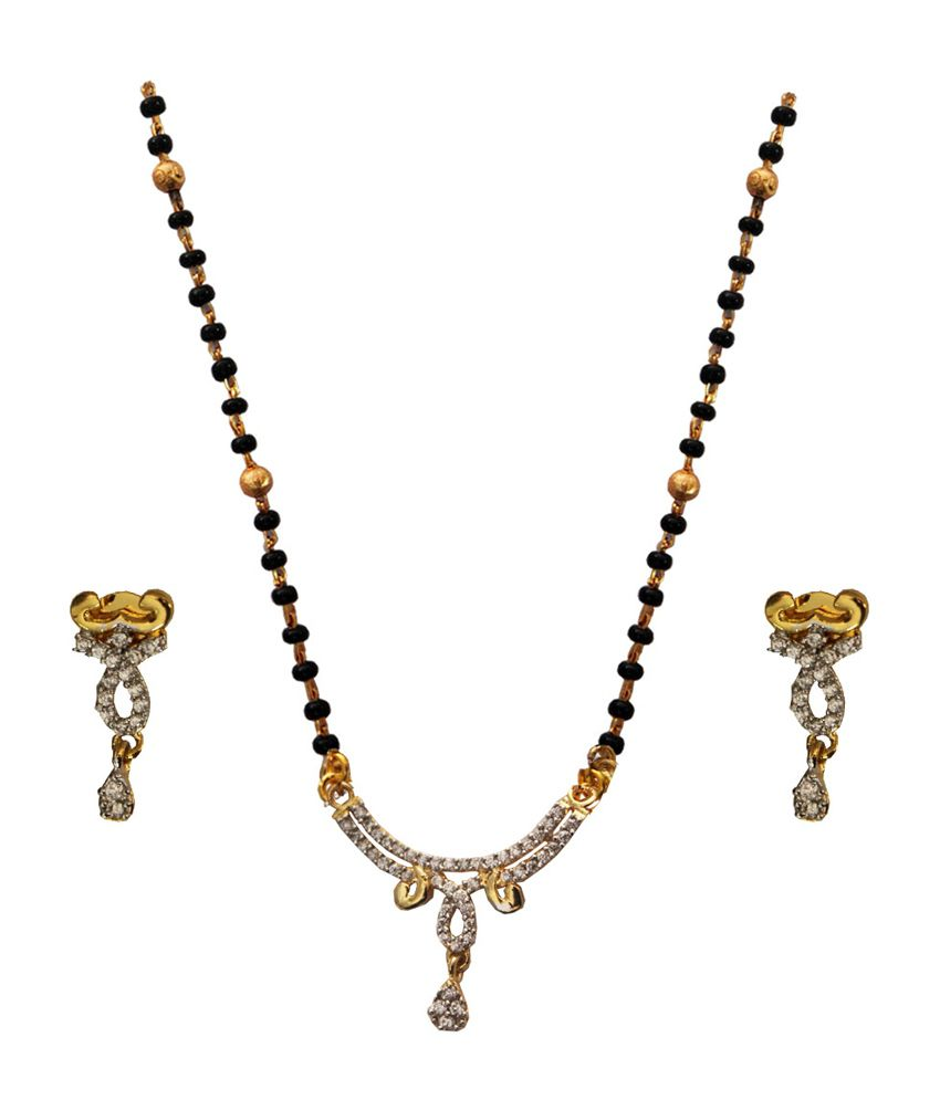 Beingwomen Black Brass CZ Mangalsutra Set