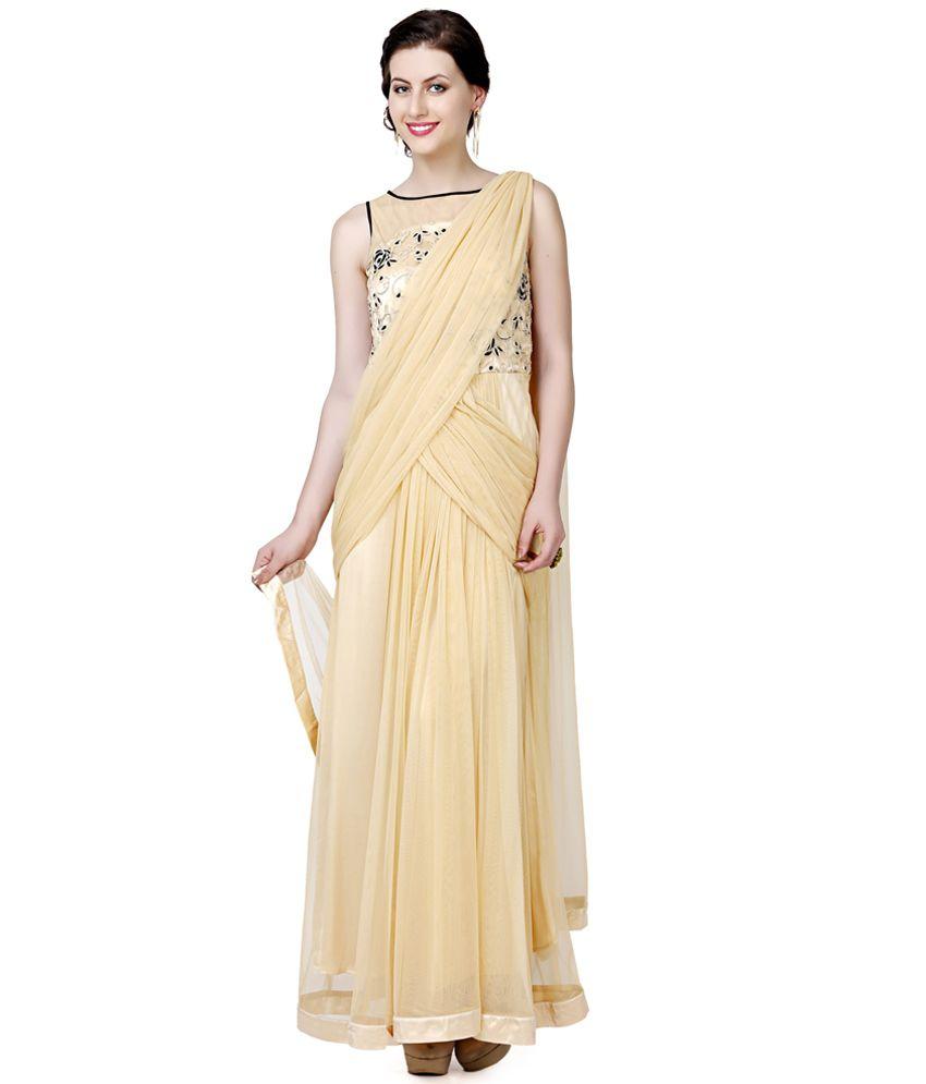 61f0be672c Eavan Beige Draped Saree Gown - Buy Eavan Beige Draped Saree Gown Online at  Best Prices in India on Snapdeal