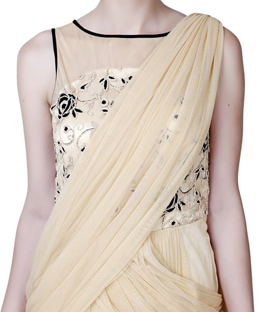 2d21fd3c3ad Eavan Beige Draped Saree Gown - Buy Eavan Beige Draped Saree Gown ...