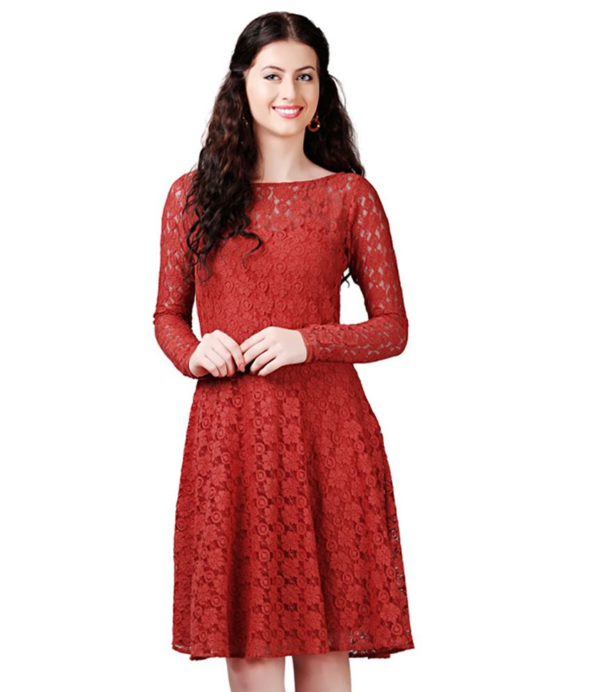 a850575751d8 Eavan Rust Lace Fit   Flare Dress - Buy Eavan Rust Lace Fit   Flare Dress  Online at Best Prices in India on Snapdeal