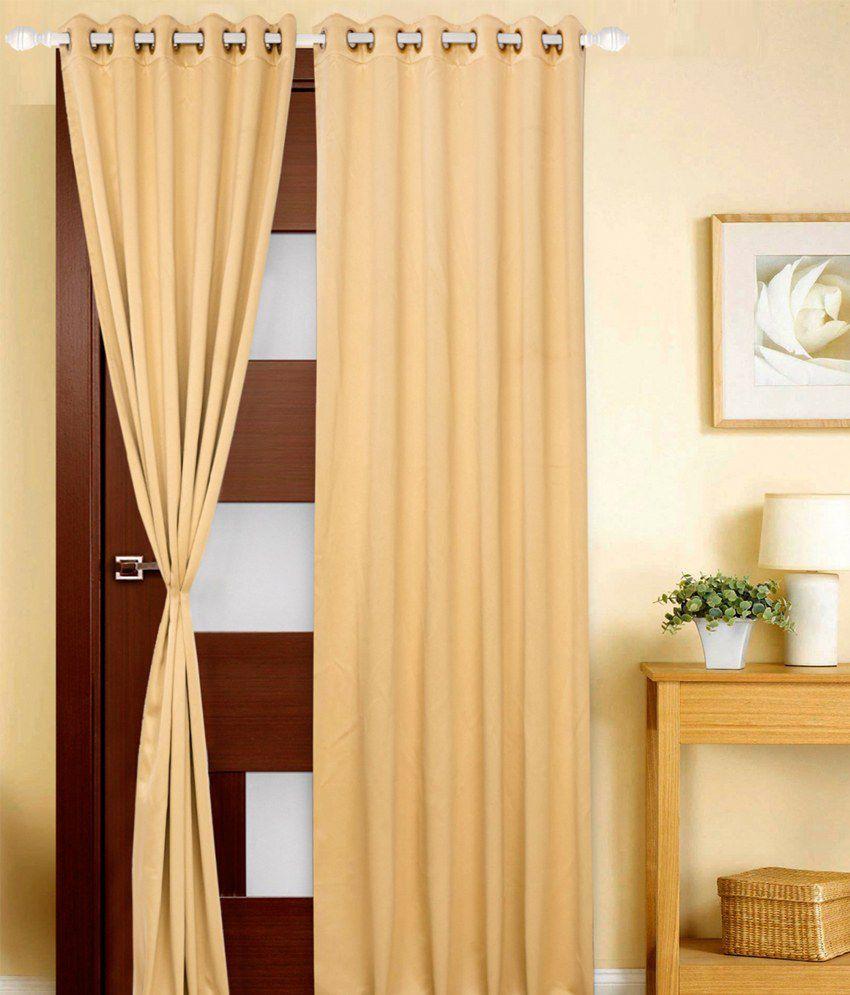 Just Linen Single Door Eyelet Curtain Solid Brown