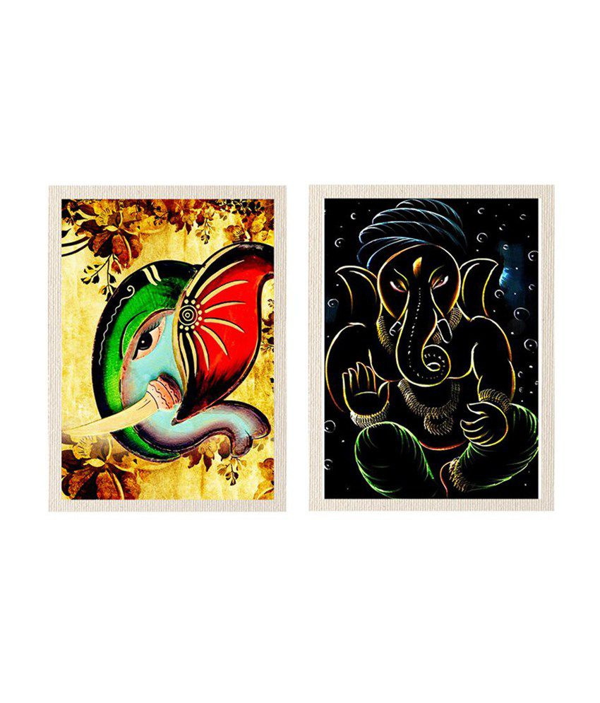 MeSleep Lord Ganesha Canvas Painting without Frame - Combo