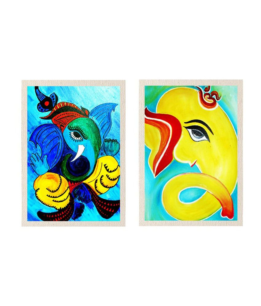 MeSleep Shree Chaturbhuj Ganesha Canvas Painting without Frame - Combo