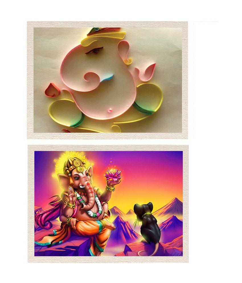 MeSleep Shree Ganesh Canvas Painting without Frame - Combo
