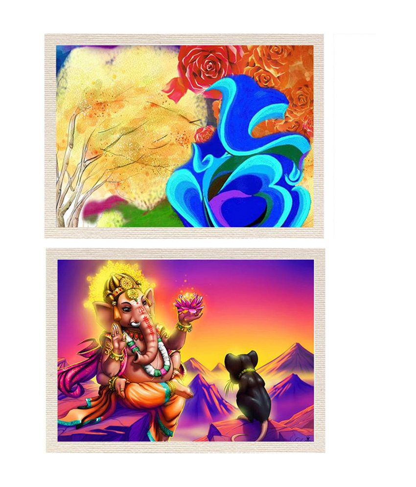 MeSleep Vighnahara Shree Ganesha Canvas Painting without Frame - Combo