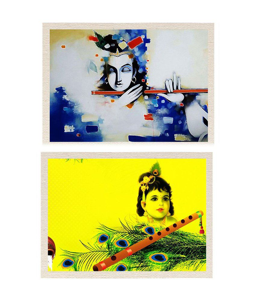 MeSleep Lord Krishna Canvas Painting without Frame - Combo