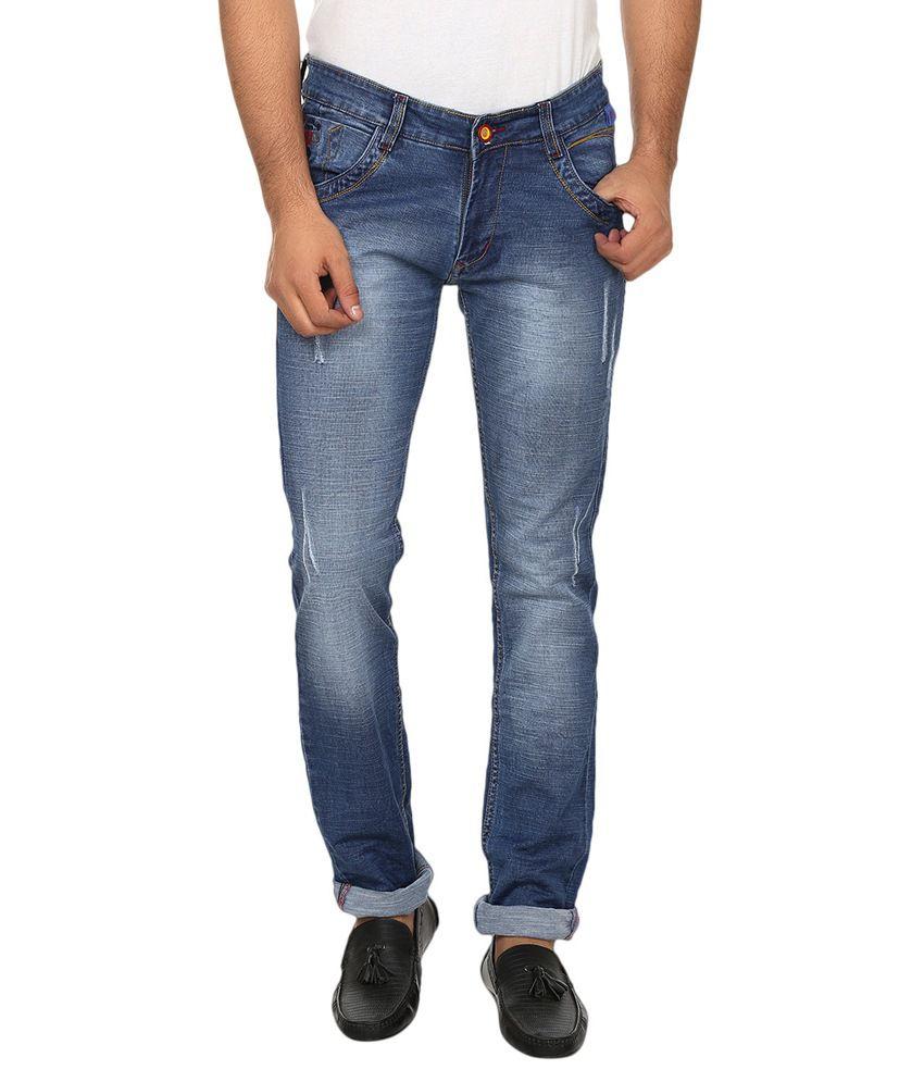 Zapnak Blue Cotton Slim Fit Jeans