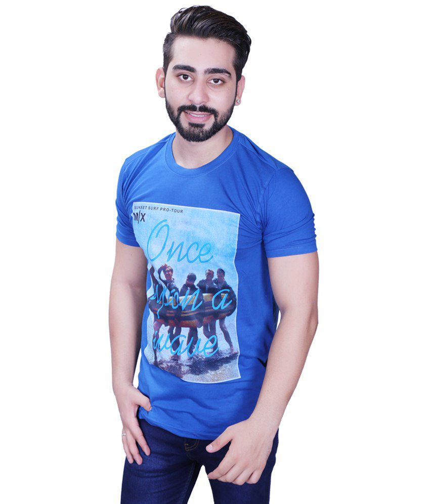 Max Excel Blue Printed Round Neck T Shirt