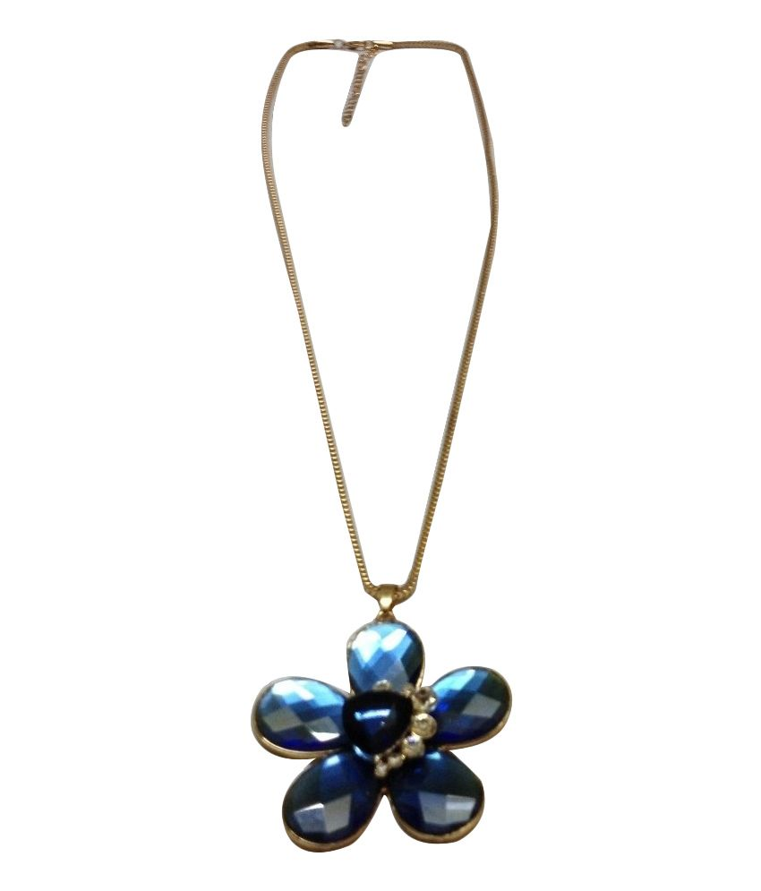 O Womaniya Blue Alloy American Diamond Necklace