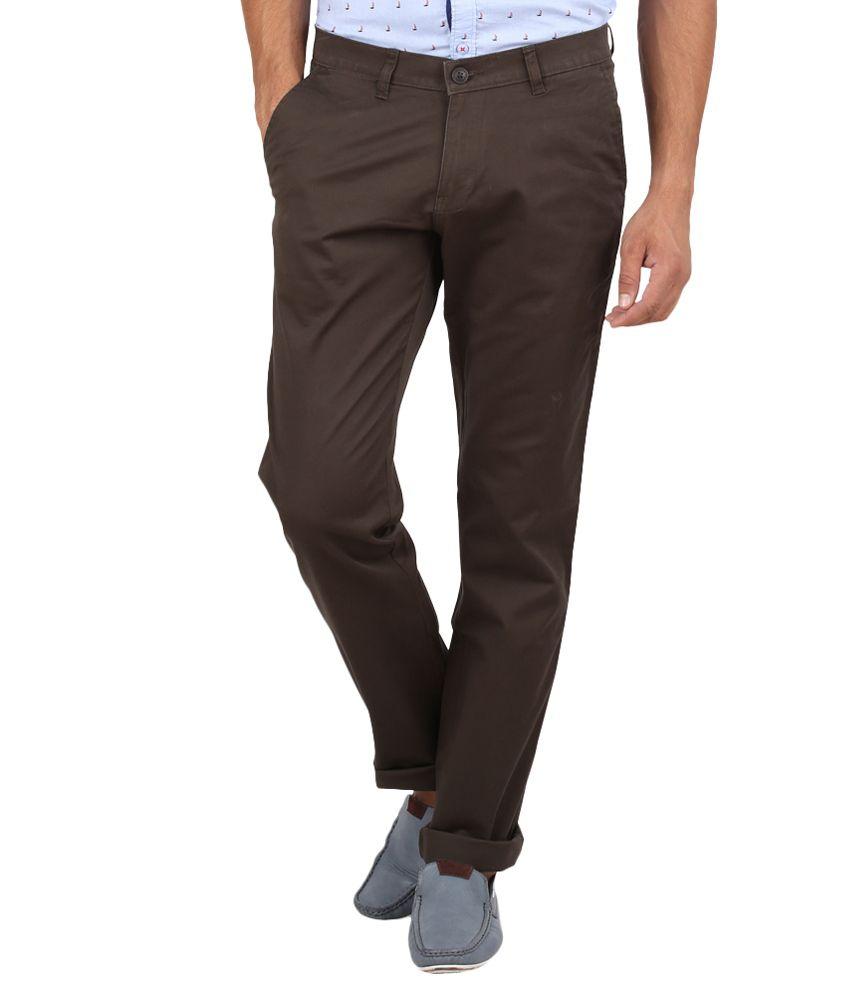 Volume Zero Brown Slim Fit Formal Flat Trouser