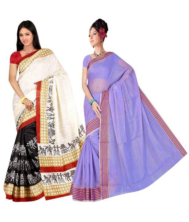 Indianefashion Multicolor Banrasi Silk Sarees Pack of 17