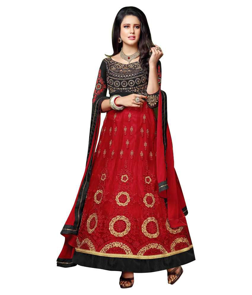Khoobee Red Net Anarkali Unstitched Dress Material