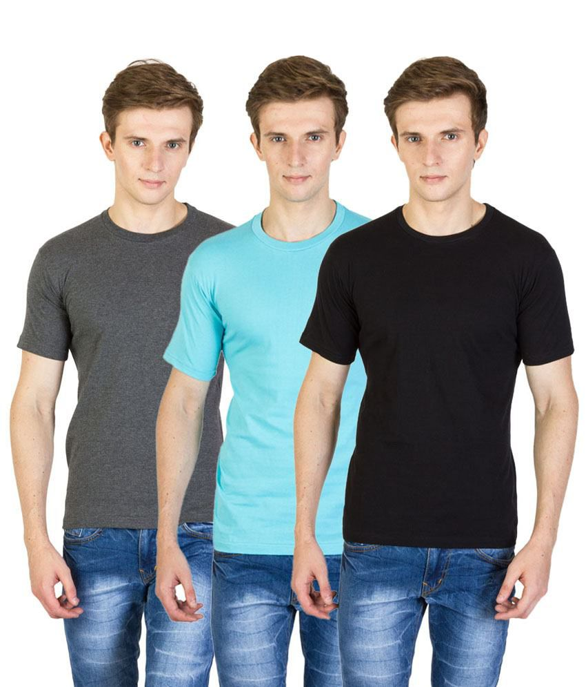 Value Shop India Pack of 3 Aqua Blue, Black & Gray Cotton T Shirts for Men