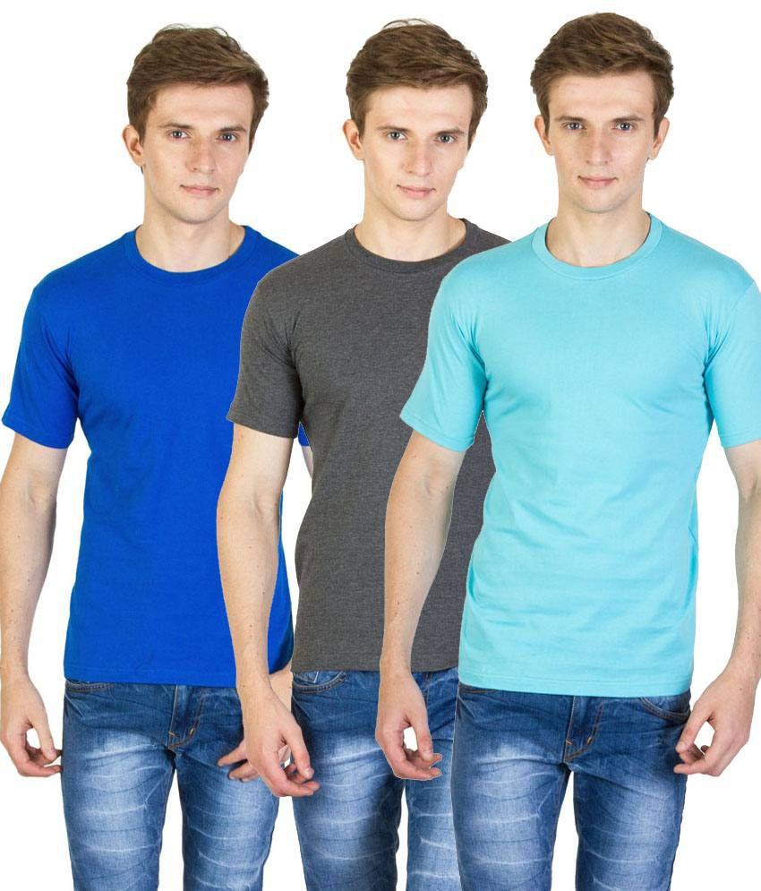 Value Shop India Pack of 3 Blue, Aqua Blue & Gray Cotton T Shirts for Men