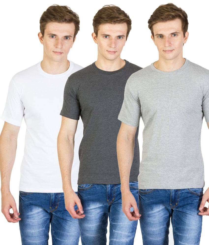 Value Shop India Pack of 3 White, Gray & Light Gray Cotton T Shirts for Men