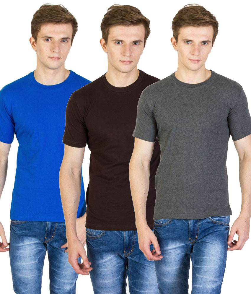 Value Shop India Pack of 3 Gray, Blue & Brown Cotton T Shirts for Men