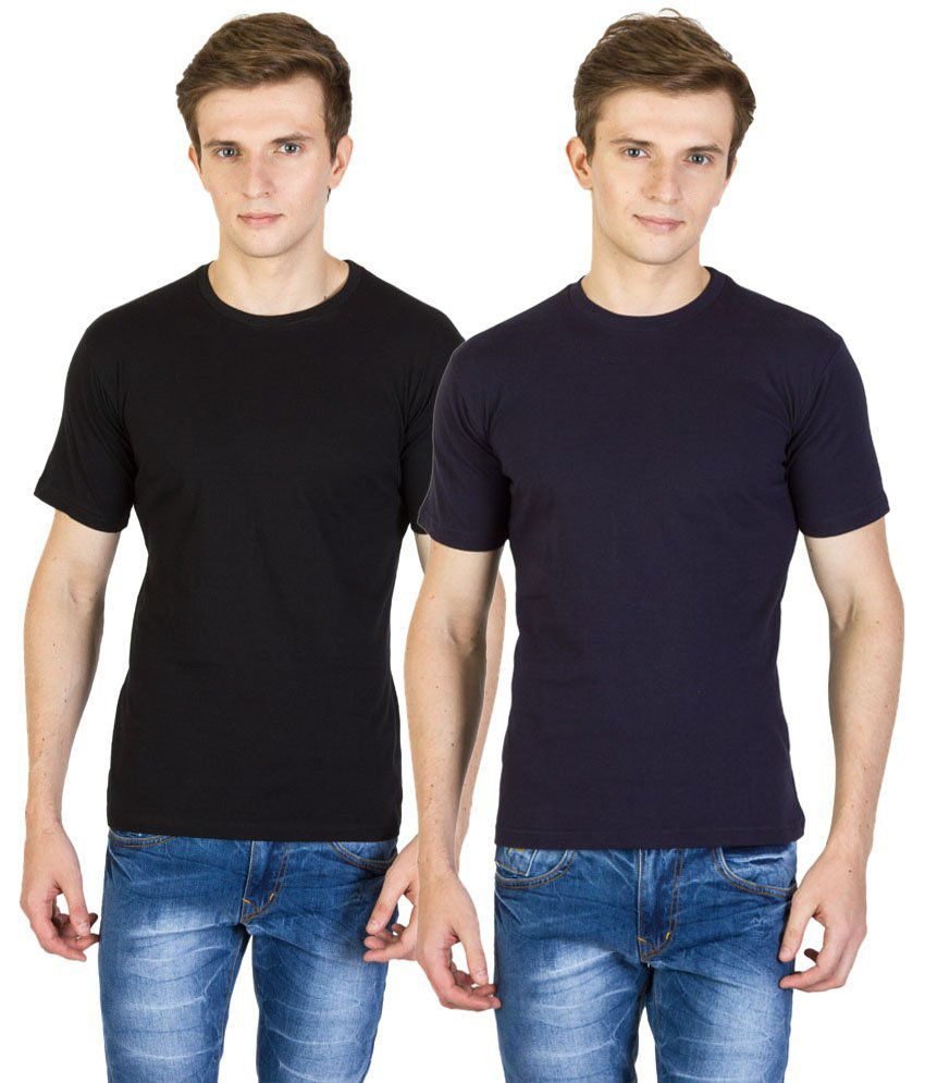 Value Shop India Pack of 2 Black & Navy Blue Cotton T Shirts for Men