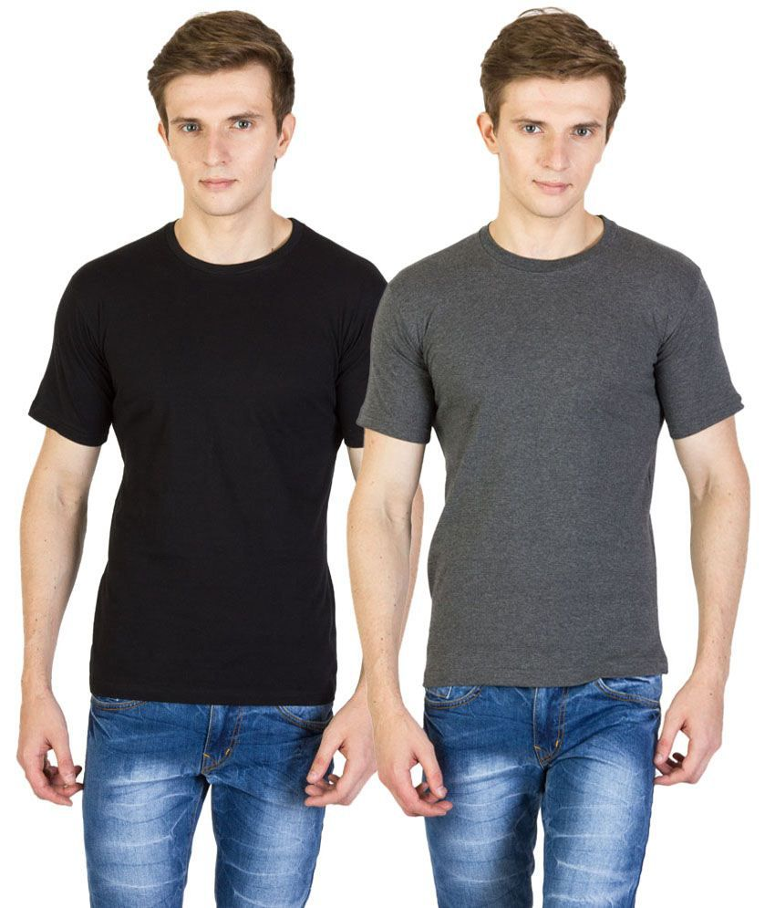 Value Shop India Pack of 2 Black & Gray Cotton T Shirts for Men