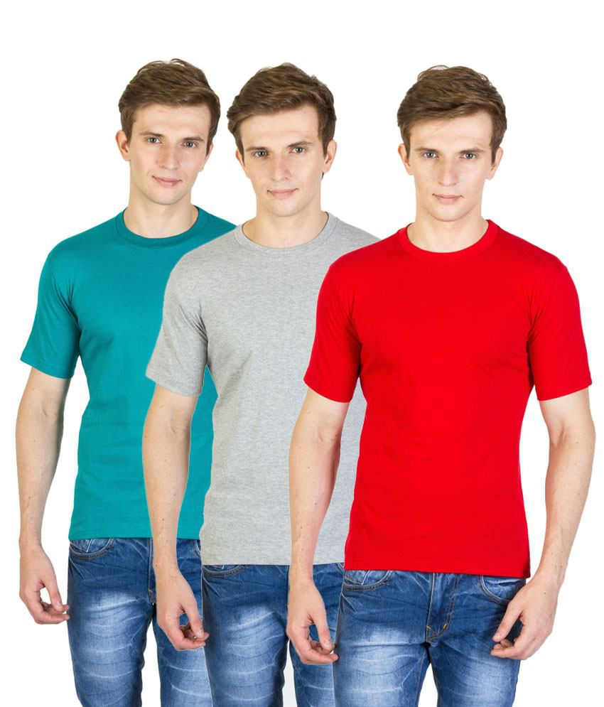 Value Shop India Pack of 3 Gray, Red & Blue Cotton T Shirts for Men