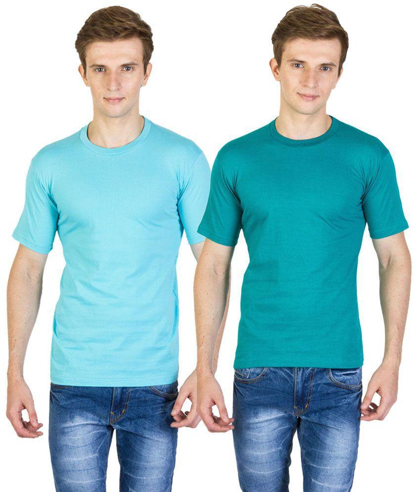Value Shop India Pack of 2 Aqua Blue & Green Cotton T Shirts for Men