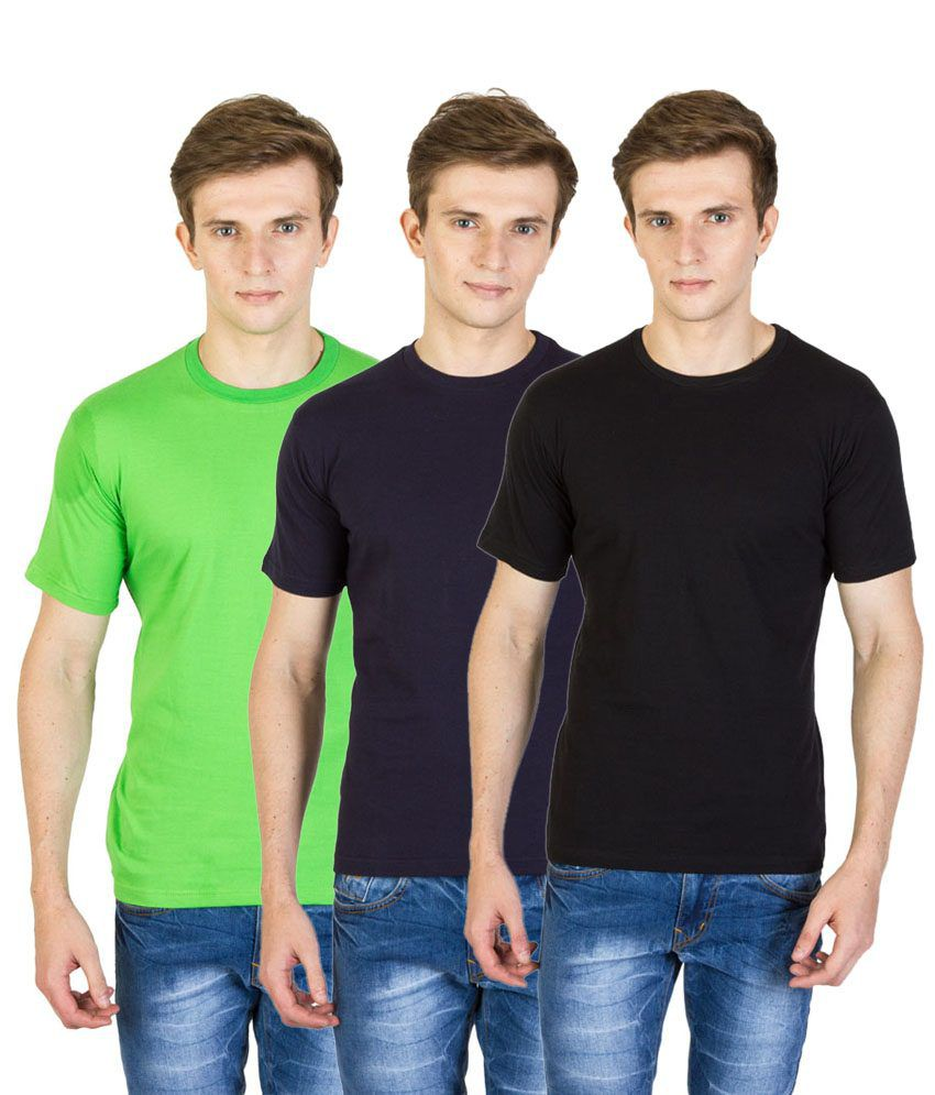 Value Shop India Pack of 3 Black, Green & Navy Blue Cotton T Shirts for Men