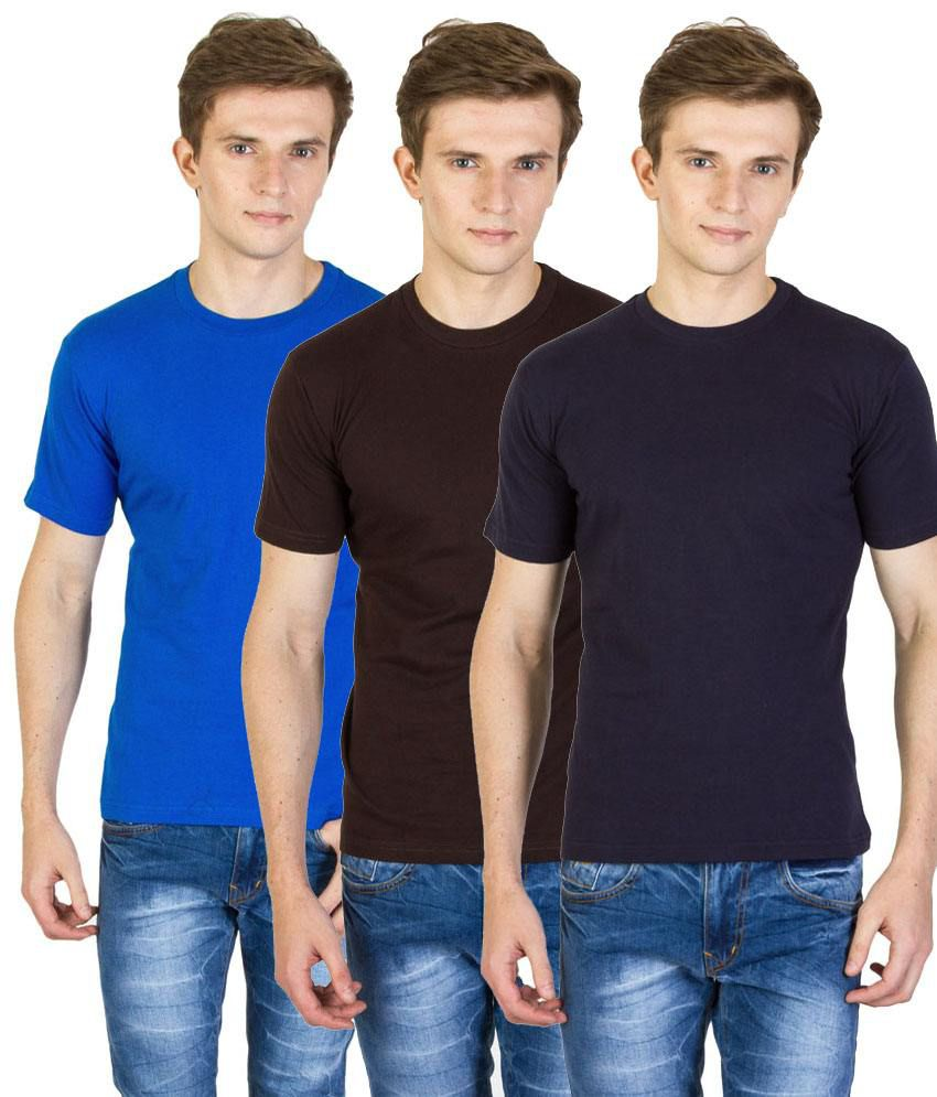 Value Shop India Pack of 3 Blue, Brown & Navy Blue Cotton T Shirts for Men